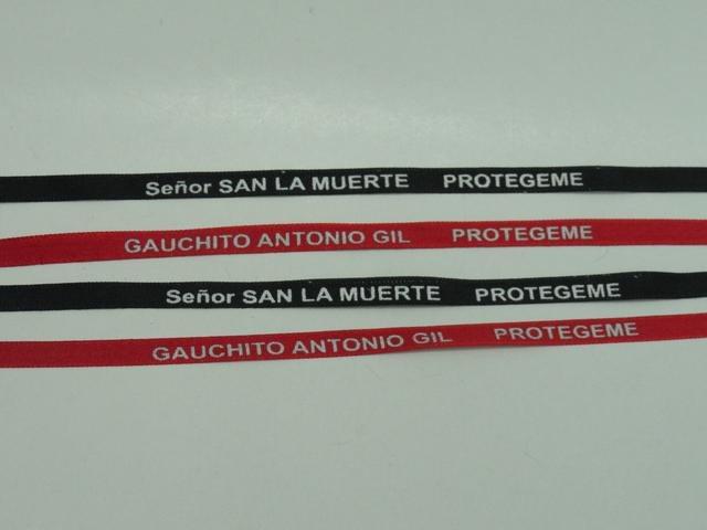 Producto #2406 MUÑEQUERAS CINTA BB X25 U. SAN LA MUERTE